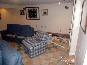 Basement with water damage